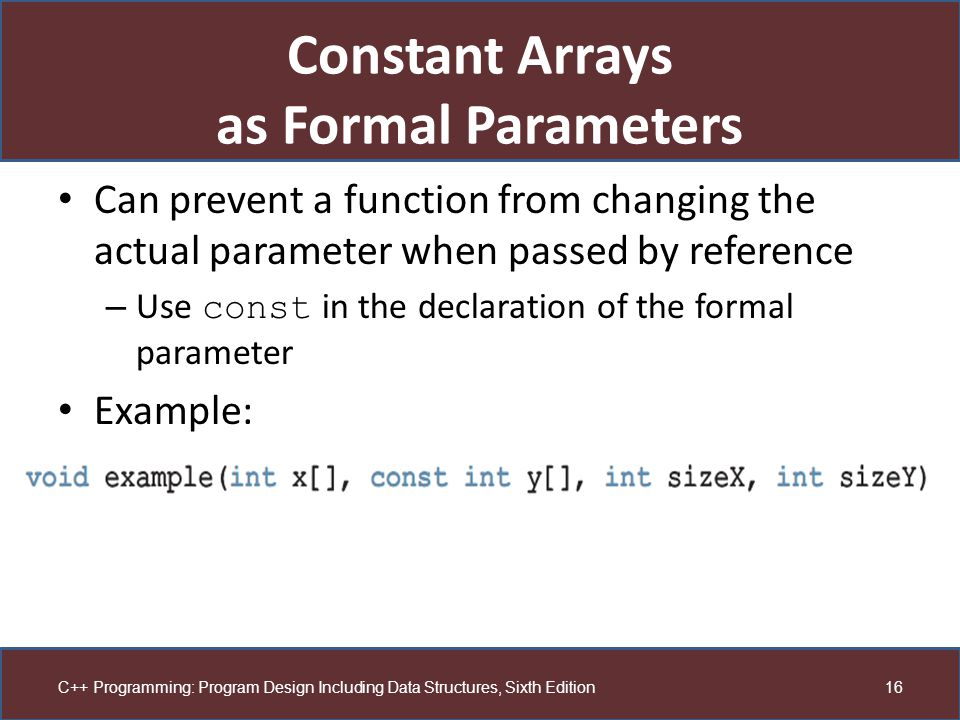 Constant Arrays as Formal Parameters
