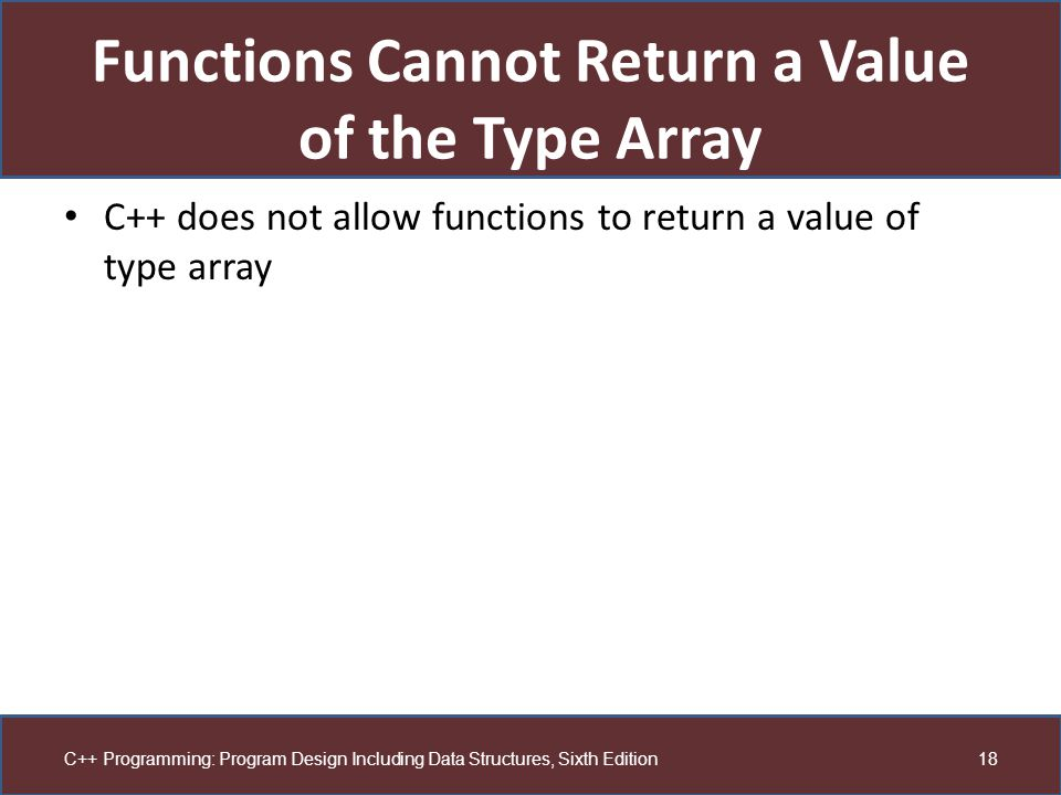 Functions Cannot Return a Value of the Type Array
