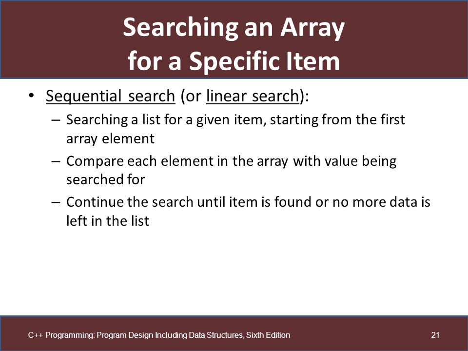 Searching an Array for a Specific Item