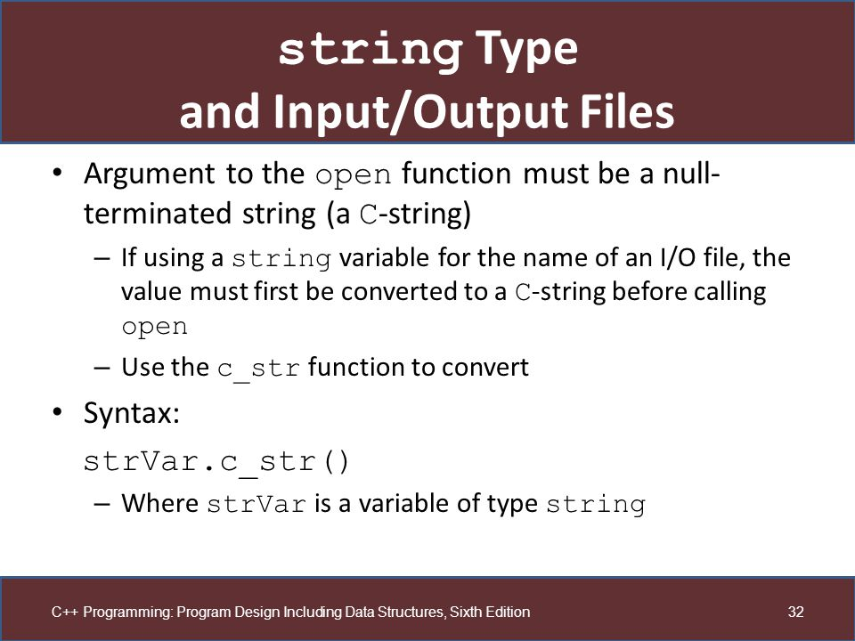 string Type and Input/Output Files