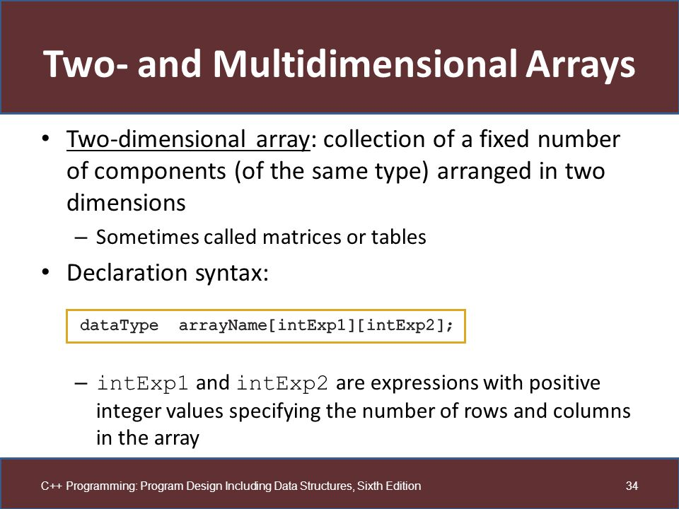 Two- and Multidimensional Arrays