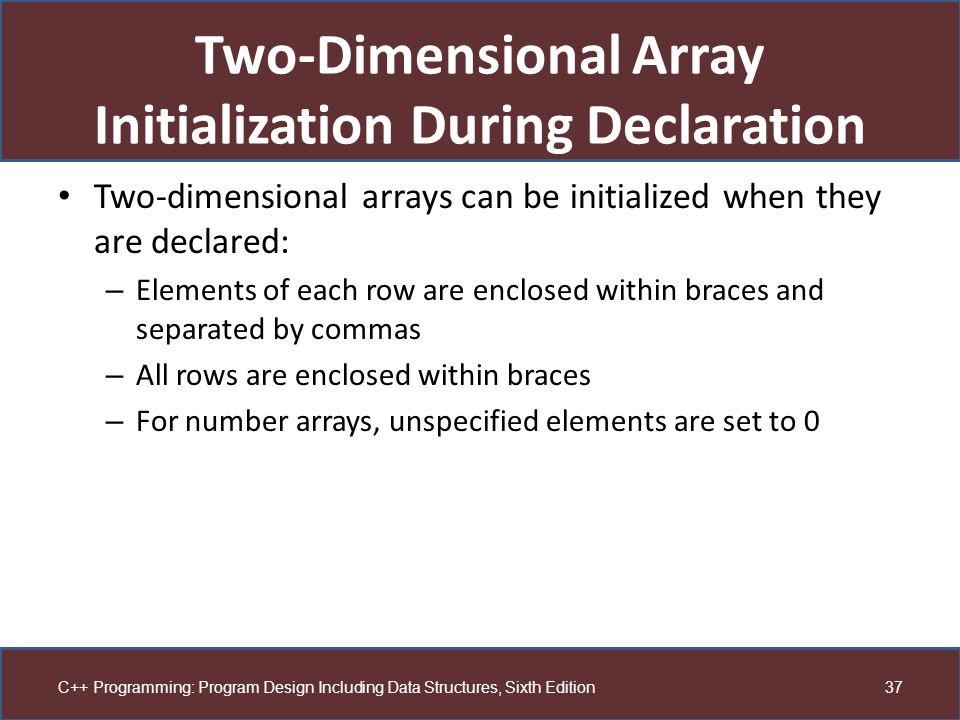 Two-Dimensional Array Initialization During Declaration