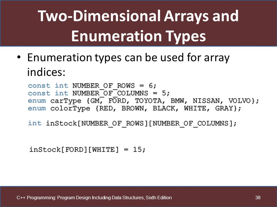 Two-Dimensional Arrays and Enumeration Types