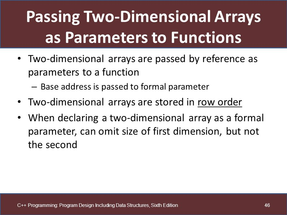 Passing Two-Dimensional Arrays as Parameters to Functions
