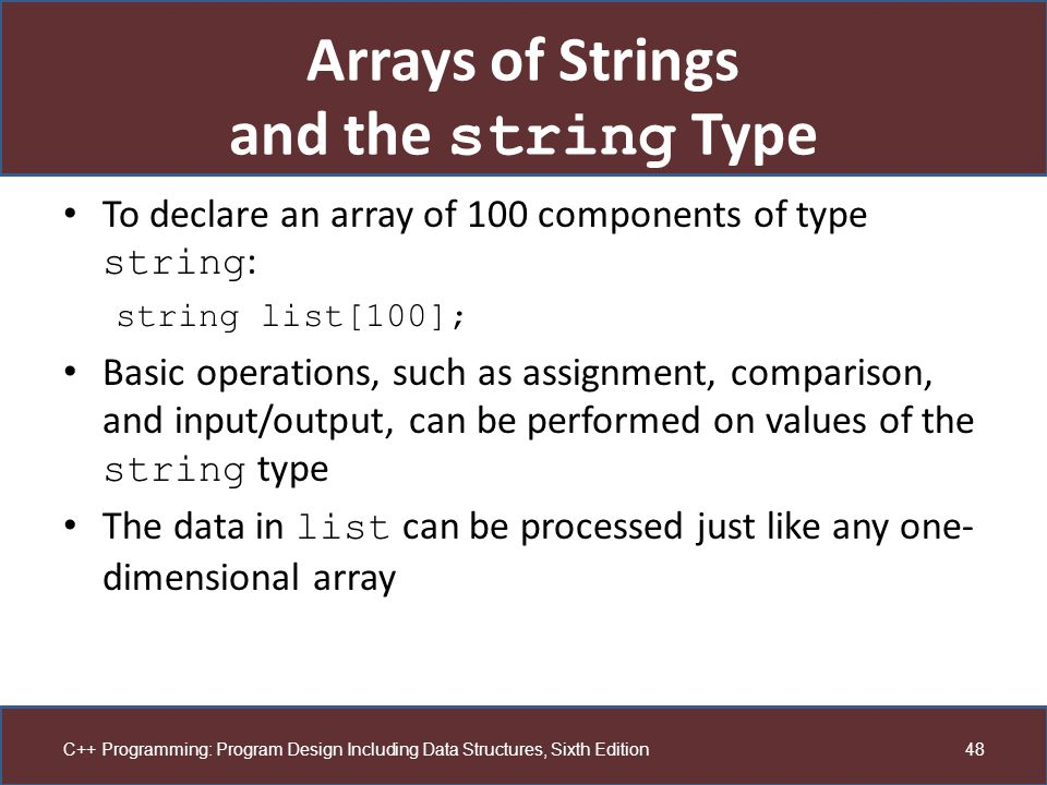 Arrays of Strings and the string Type