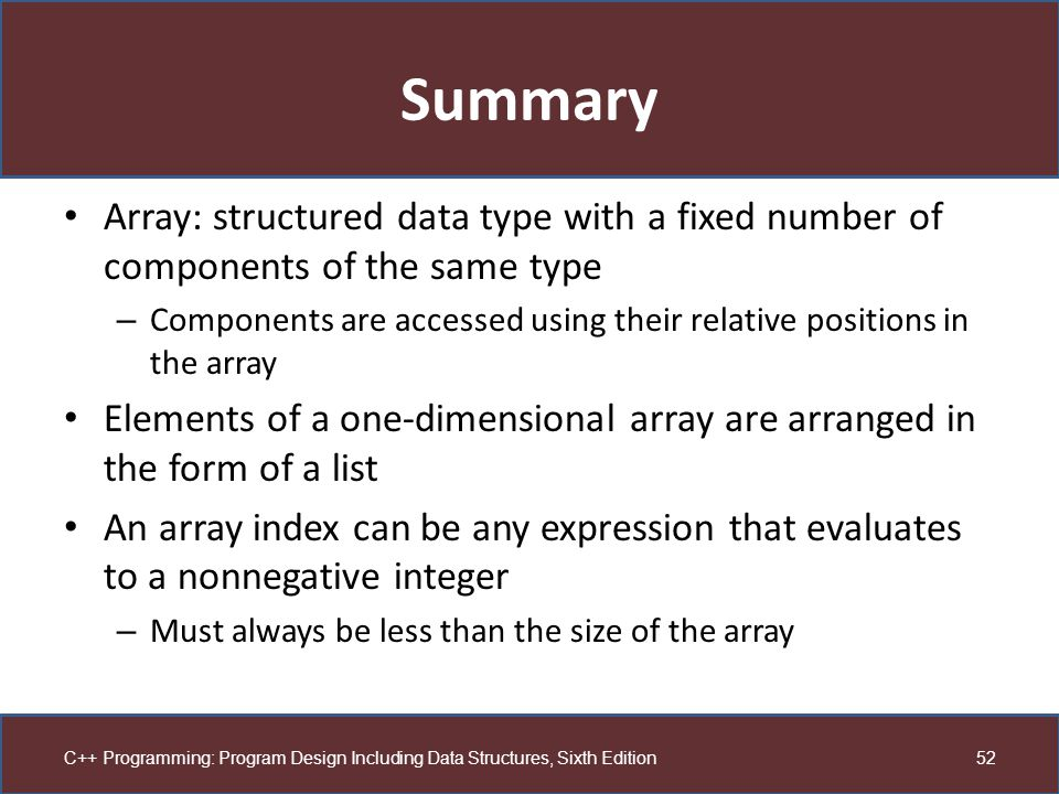 Summary Array: structured data type with a fixed number of components of the same type.