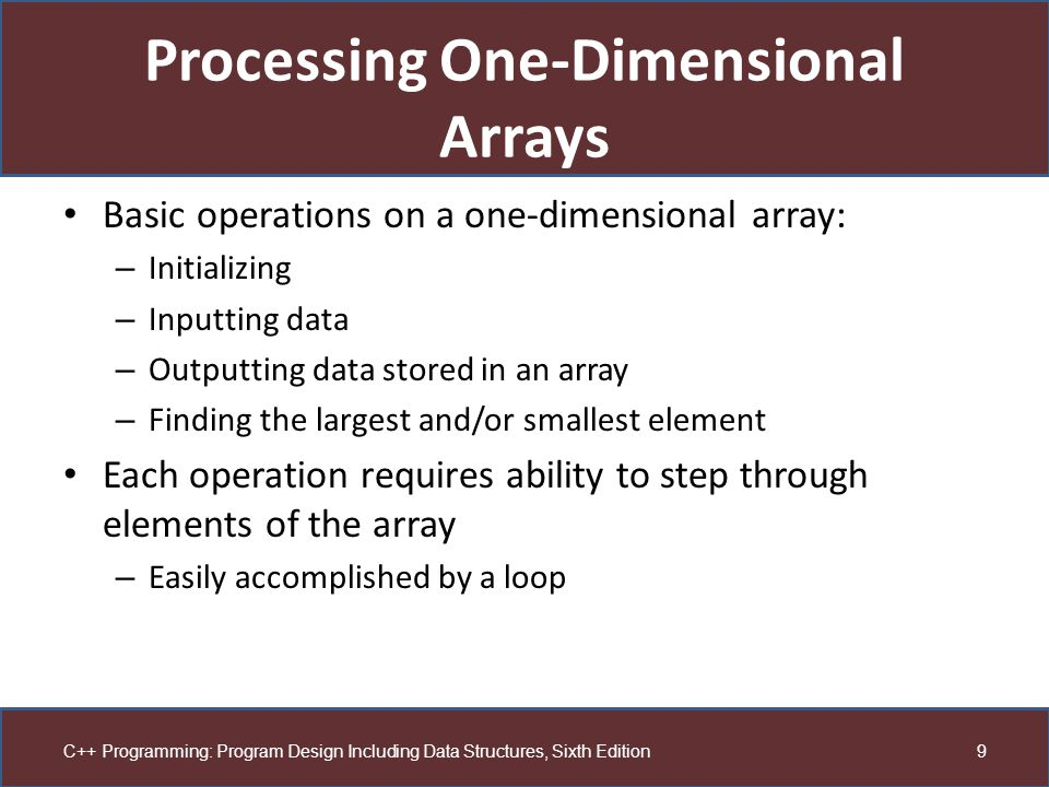 Processing One-Dimensional Arrays