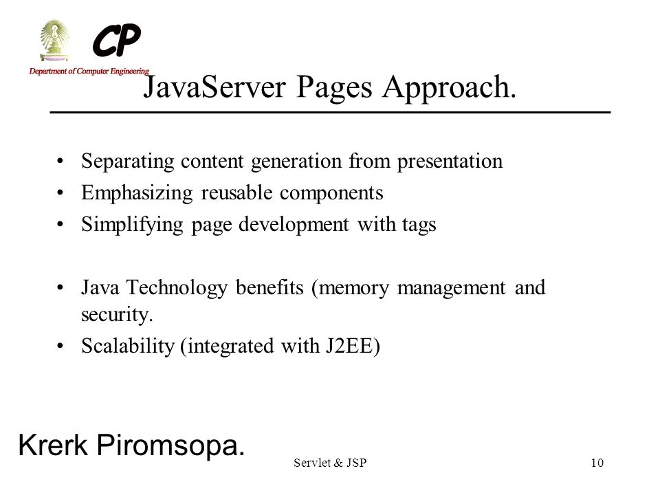 JavaServer Pages Approach.
