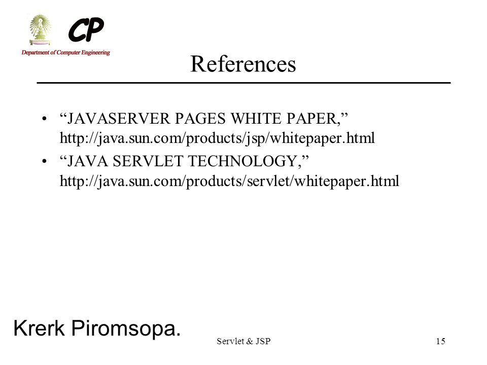 References JAVASERVER PAGES WHITE PAPER,