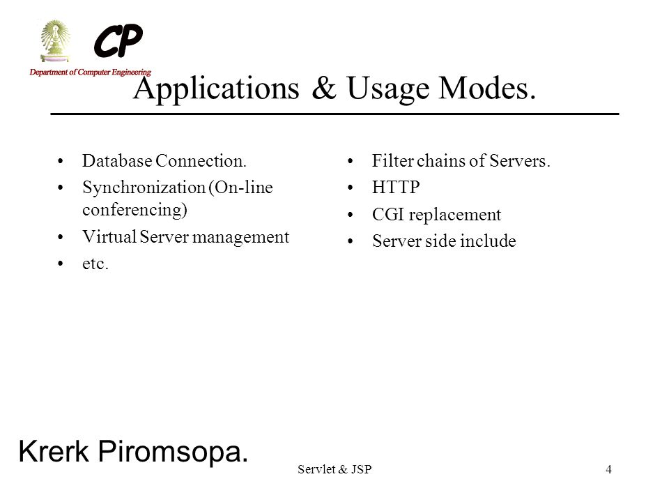 Applications & Usage Modes.