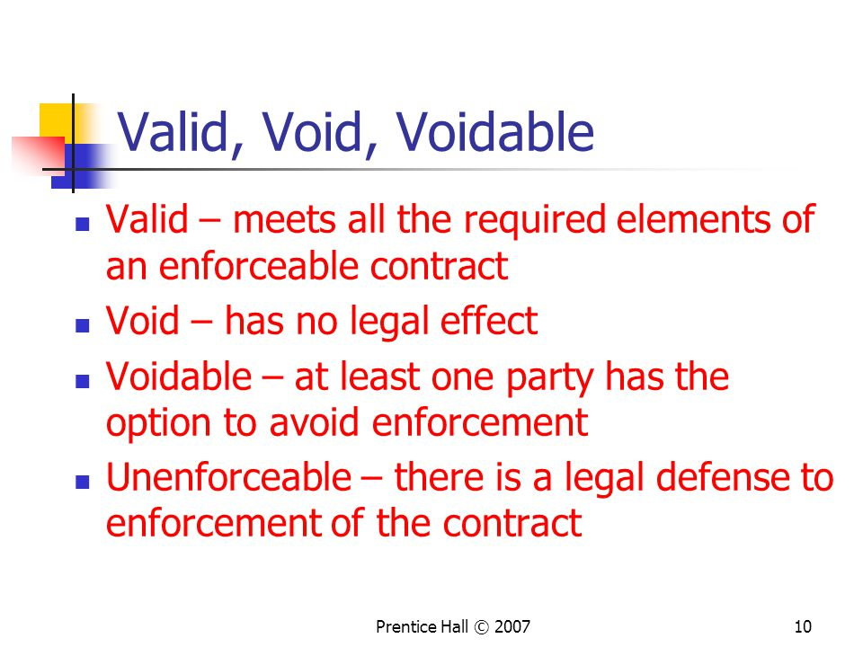 Valid, Void, Voidable Valid – meets all the required elements of an enforceable contract. Void – has no legal effect.