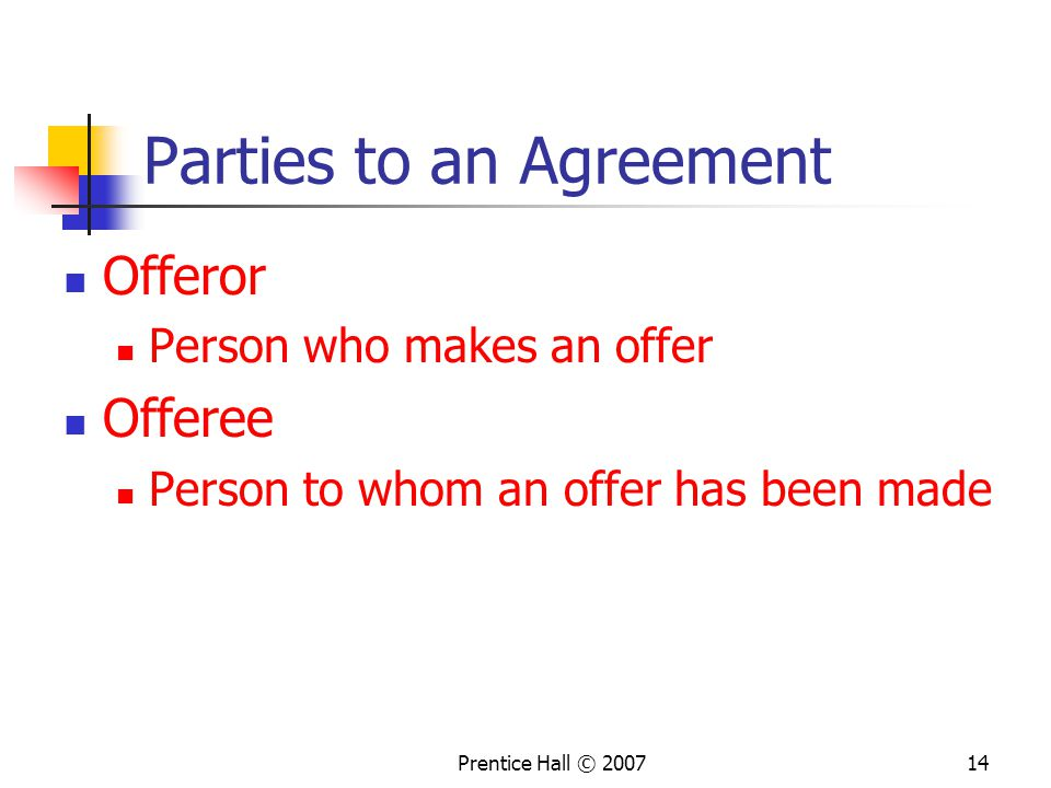 Parties to an Agreement
