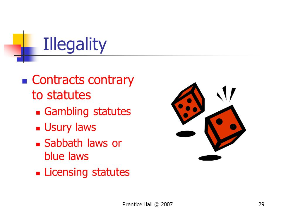 Illegality Contracts contrary to statutes Gambling statutes Usury laws
