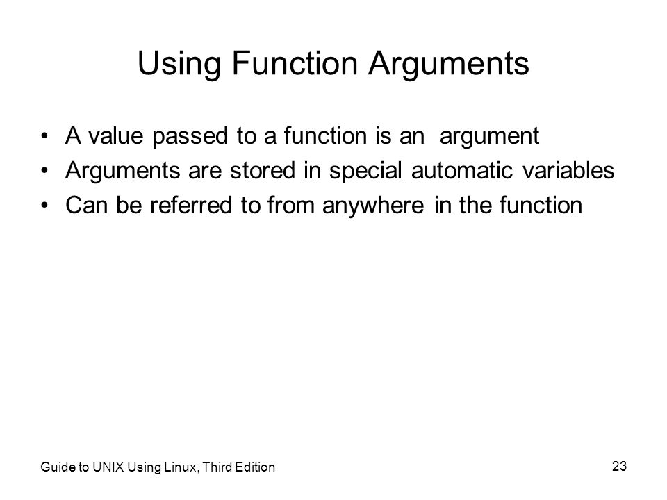 Using Function Arguments