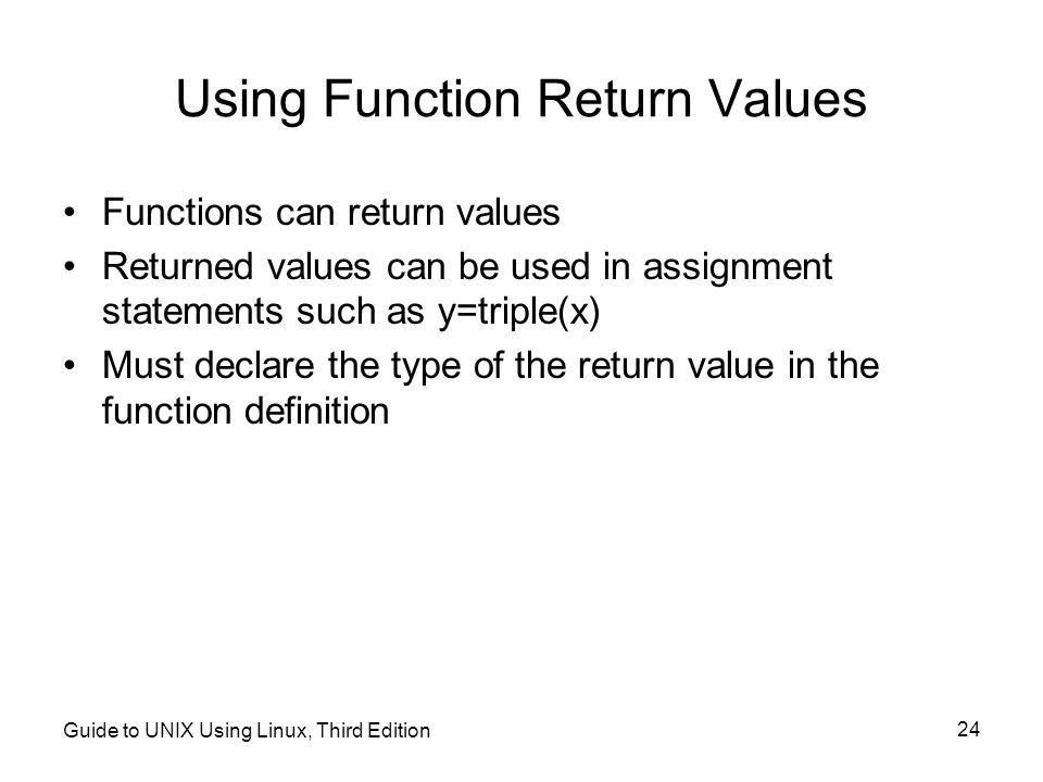 Using Function Return Values