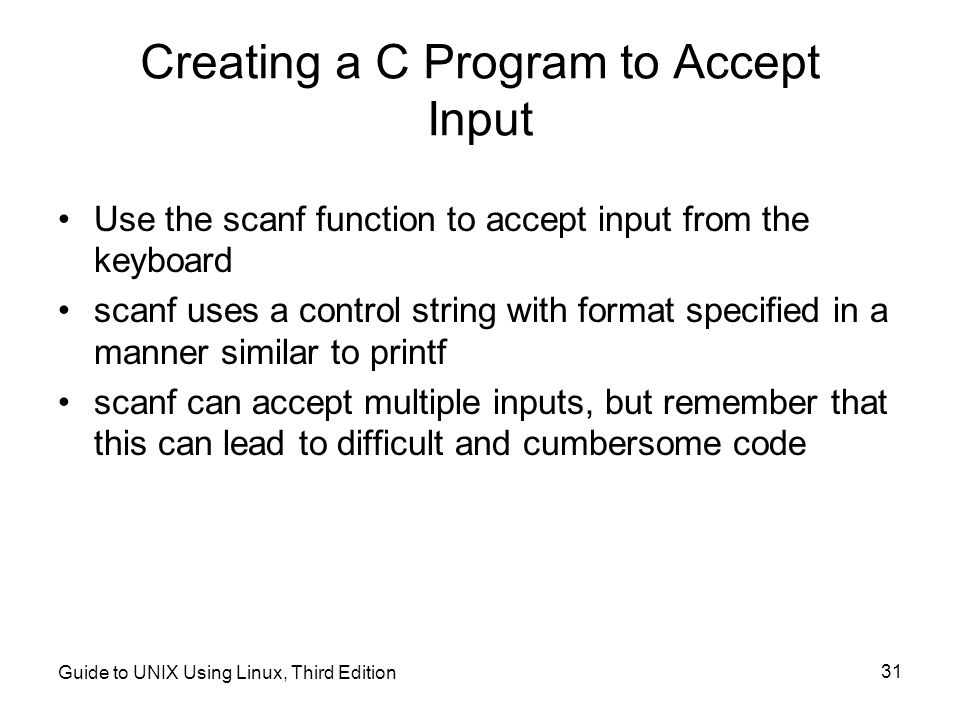 Creating a C Program to Accept Input