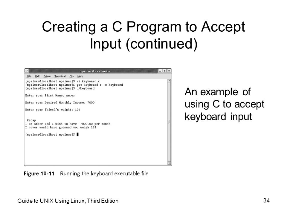 Creating a C Program to Accept Input (continued)