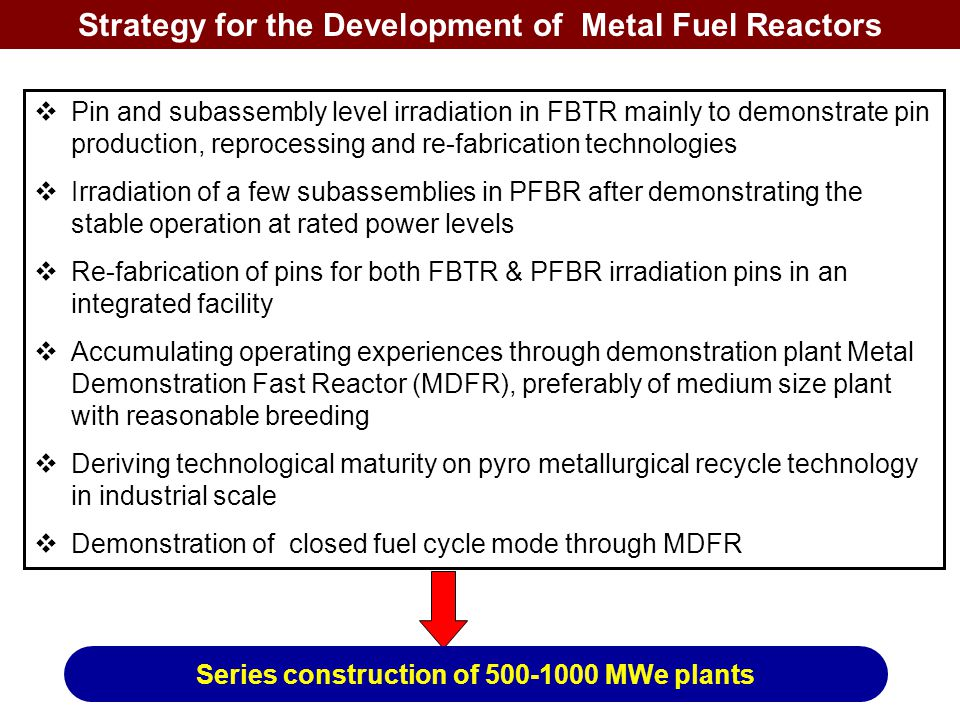Strategy for the Development of Metal Fuel Reactors