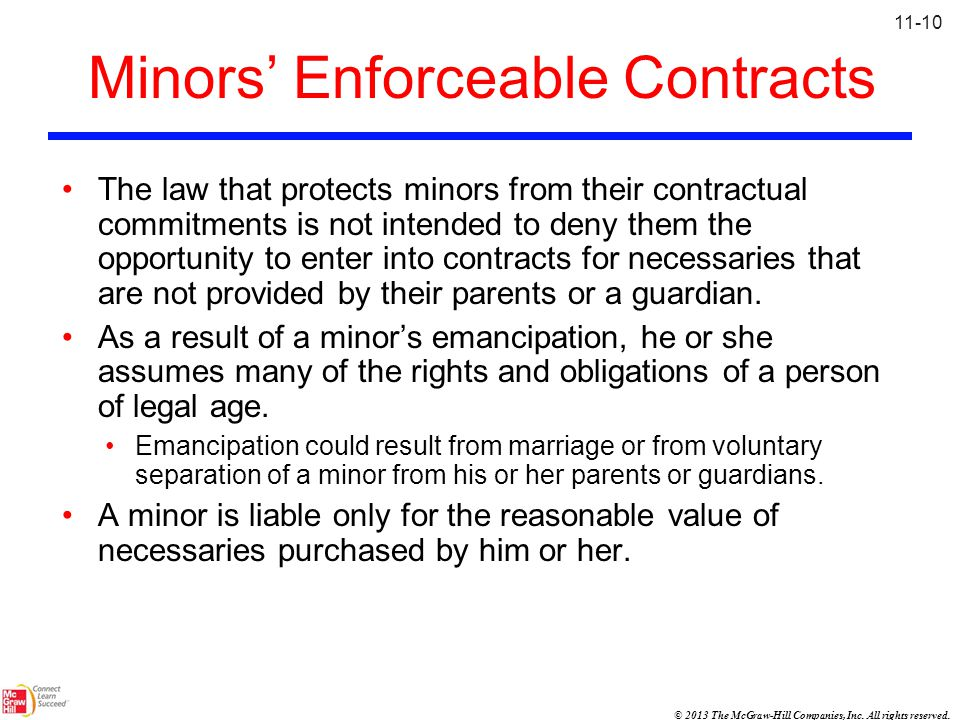 Minors' Enforceable Contracts