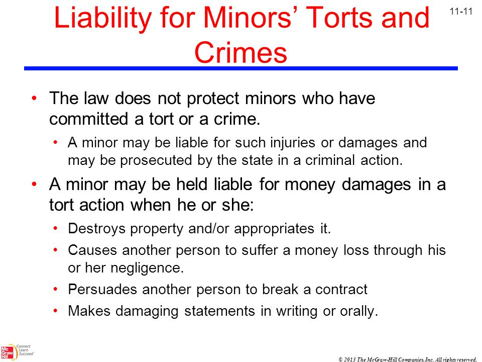 Liability for Minors' Torts and Crimes