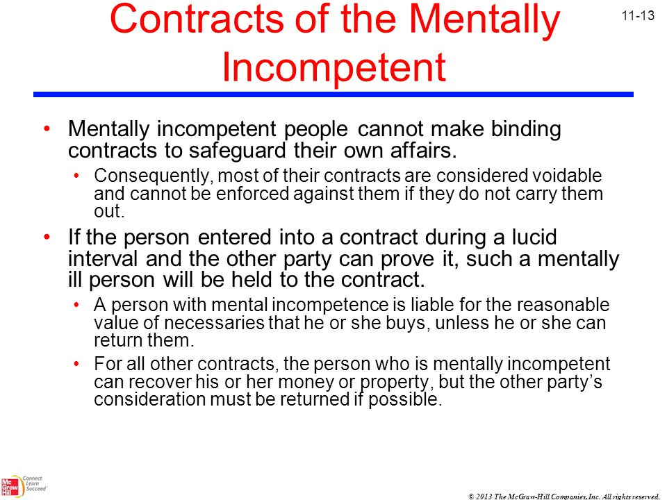 Contracts of the Mentally Incompetent