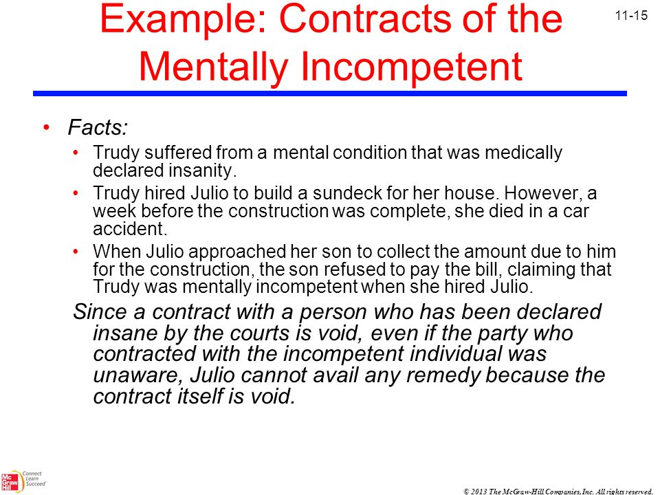 Example: Contracts of the Mentally Incompetent