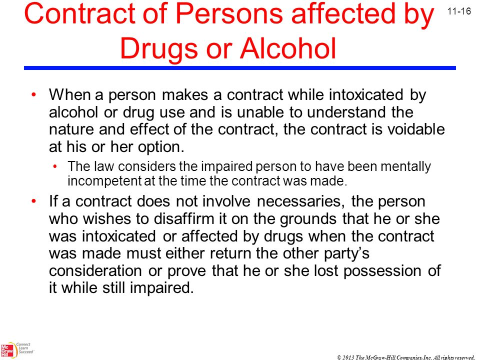 Contract of Persons affected by Drugs or Alcohol