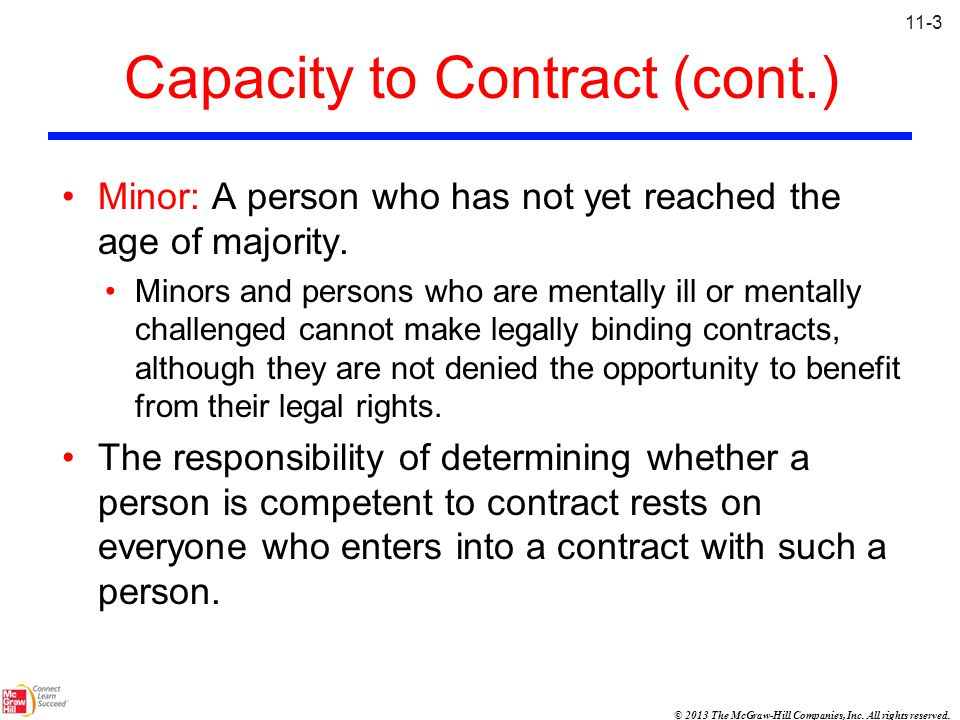 Capacity to Contract (cont.)