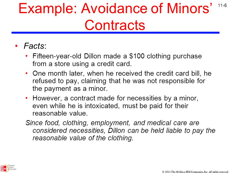 Example: Avoidance of Minors' Contracts