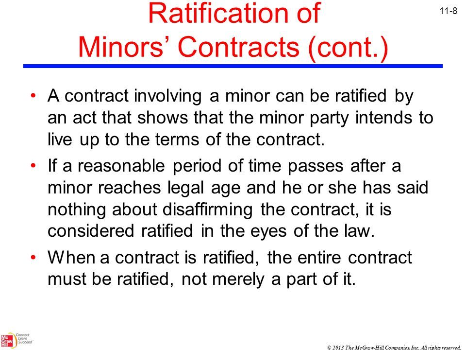 Ratification of Minors' Contracts (cont.)
