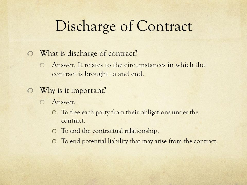 discharge of contract by frustration This is a sample of our (approximately) 15 page long discharge 2 frustration notes, which we sell as part of the gdl contract law notes collection, a c package.