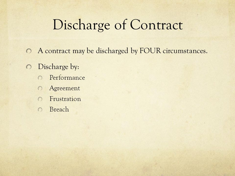 Performance termination of contract discharge of contract discharge of contract a contract may be discharged by four circumstances discharge by performance altavistaventures Image collections