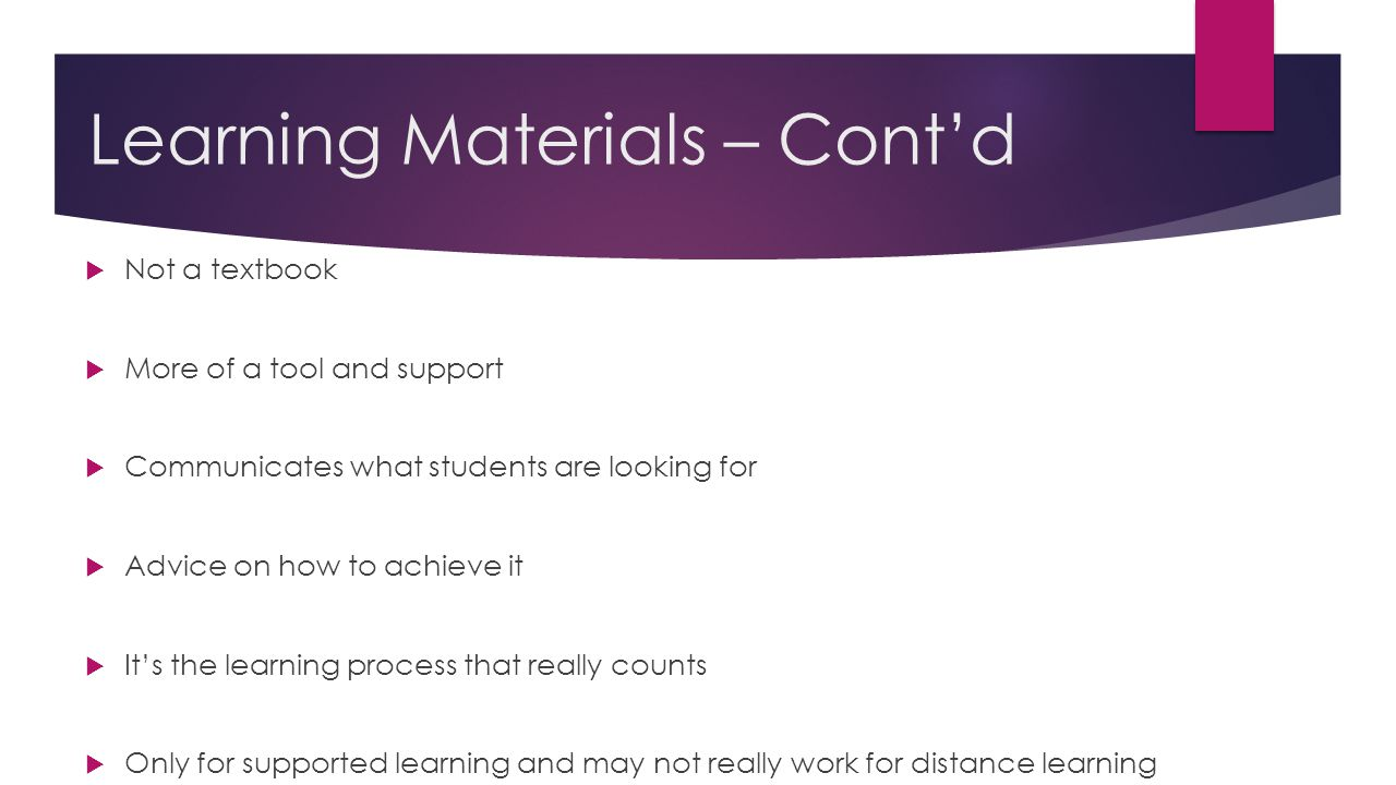 Learning Materials – Cont'd
