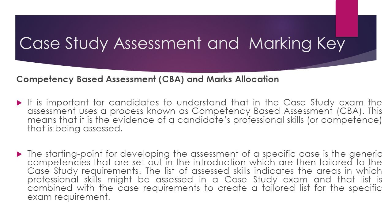 Case Study Assessment and Marking Key