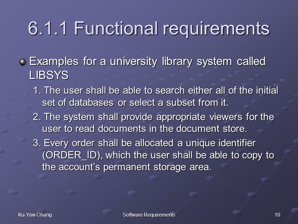 functional requirements of library management Options for the automation of serials management range from a $75 program for  an  determine the specific functional requirements of that library the checklist .