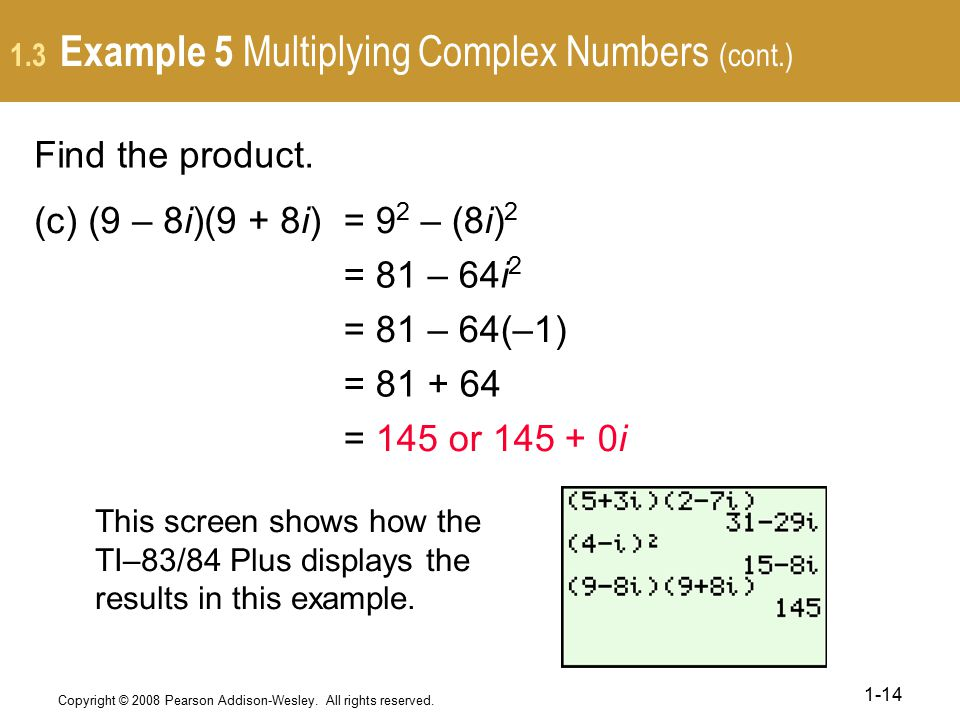1.3 Example 5 Multiplying Complex Numbers (cont.)
