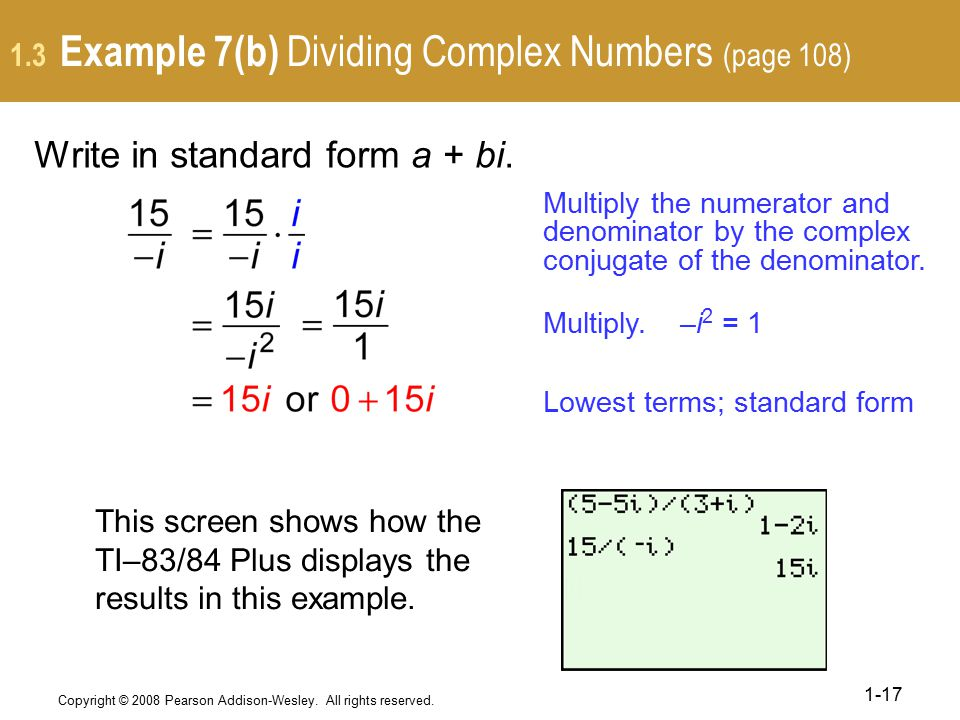 1.3 Example 7(b) Dividing Complex Numbers (page 108)