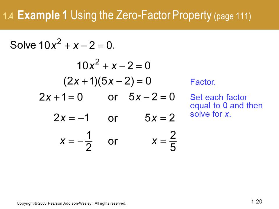 1.4 Example 1 Using the Zero-Factor Property (page 111)