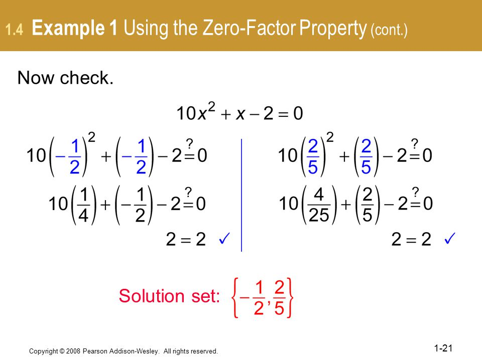1.4 Example 1 Using the Zero-Factor Property (cont.)