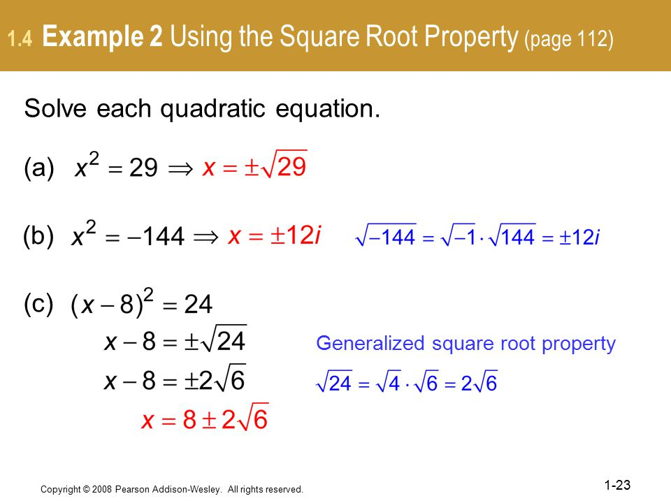 1.4 Example 2 Using the Square Root Property (page 112)