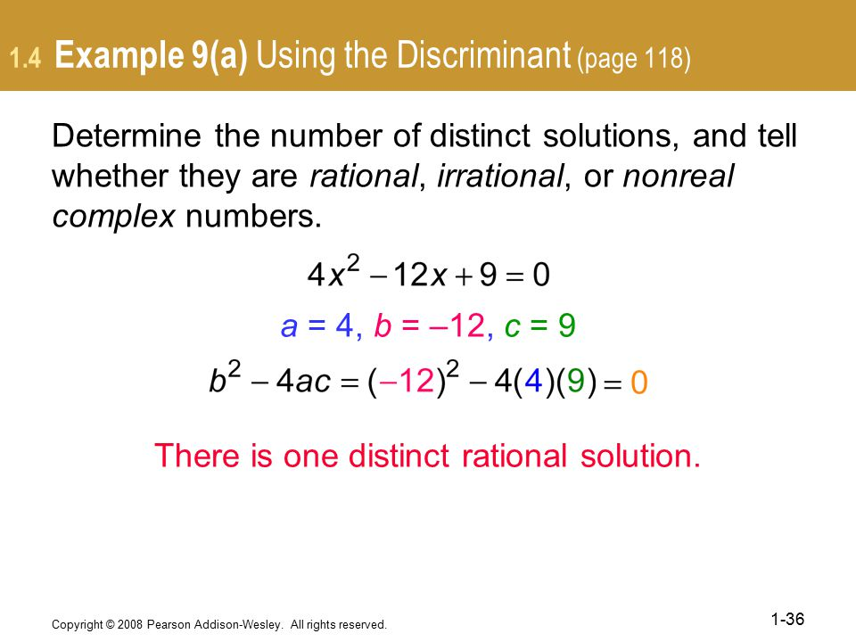 1.4 Example 9(a) Using the Discriminant (page 118)