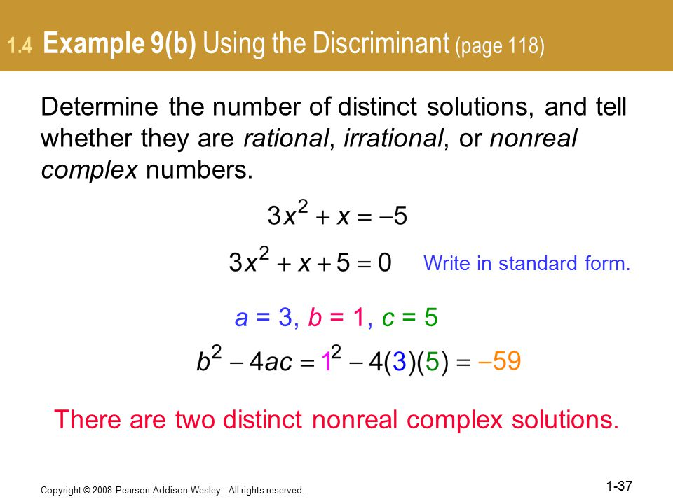 1.4 Example 9(b) Using the Discriminant (page 118)