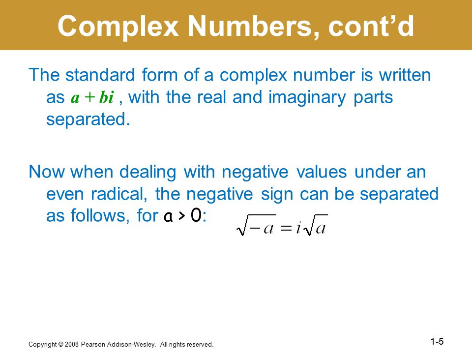 Complex Numbers, cont'd