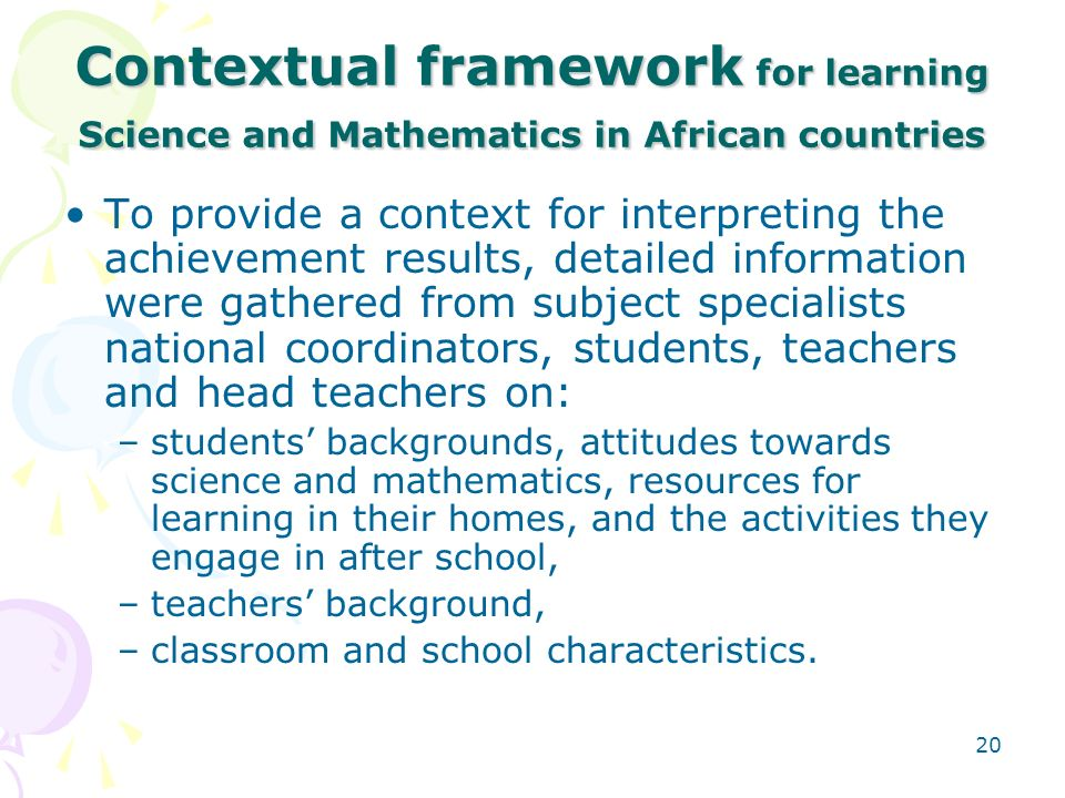 Contextual framework for learning Science and Mathematics in African countries