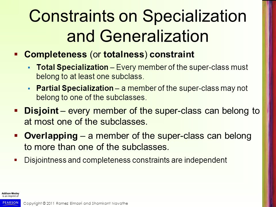 Constraints on Specialization and Generalization
