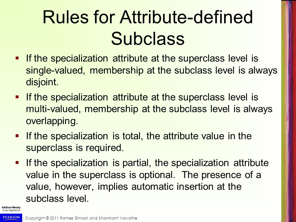 Rules for Attribute-defined Subclass