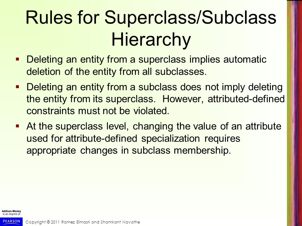 Rules for Superclass/Subclass Hierarchy