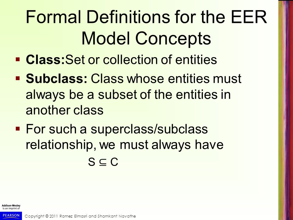 Formal Definitions for the EER Model Concepts