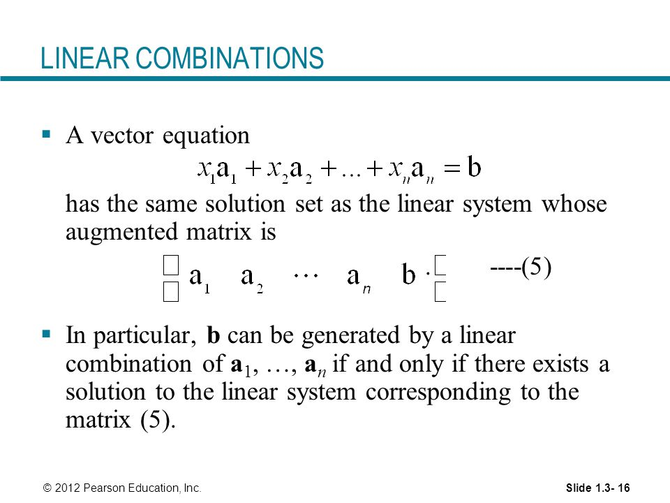 How to write a linear combination of vectors