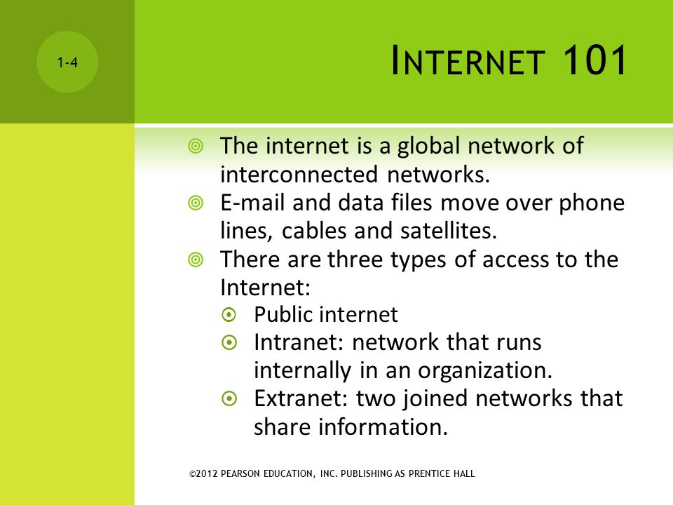 Internet 101 The internet is a global network of interconnected networks. E-mail and data files move over phone lines, cables and satellites.